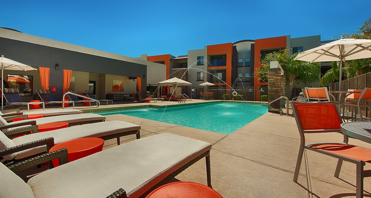 Swimming Pool with Brand New Modern Furniture at Harmony at Surprise