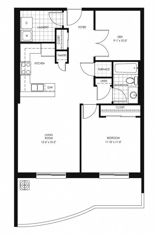 Juliana Place Apartments 1 bedroom + 1 bathroom plus den apartment floor plan in Woodstock, ON