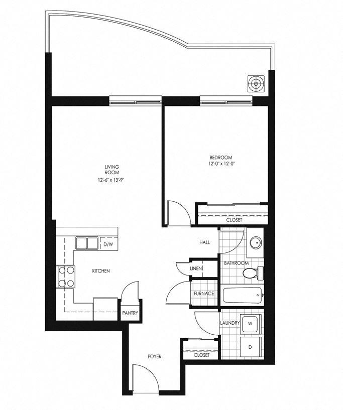 Juliana Place Apartments 1 bedroom + 1 bathroom apartment floor plan in Woodstock, ON