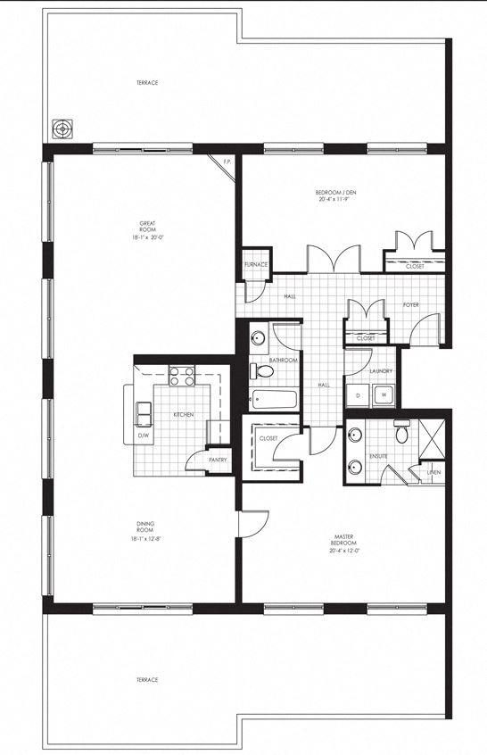 Juliana Place Apartments 2 bedroom + 2 bathroom apartment floor plan in Woodstock, ON