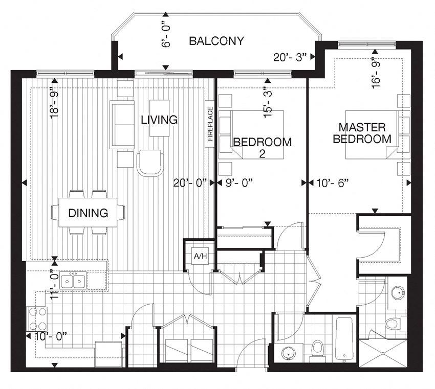 Floor plan of 2 Bed, 2 Bath