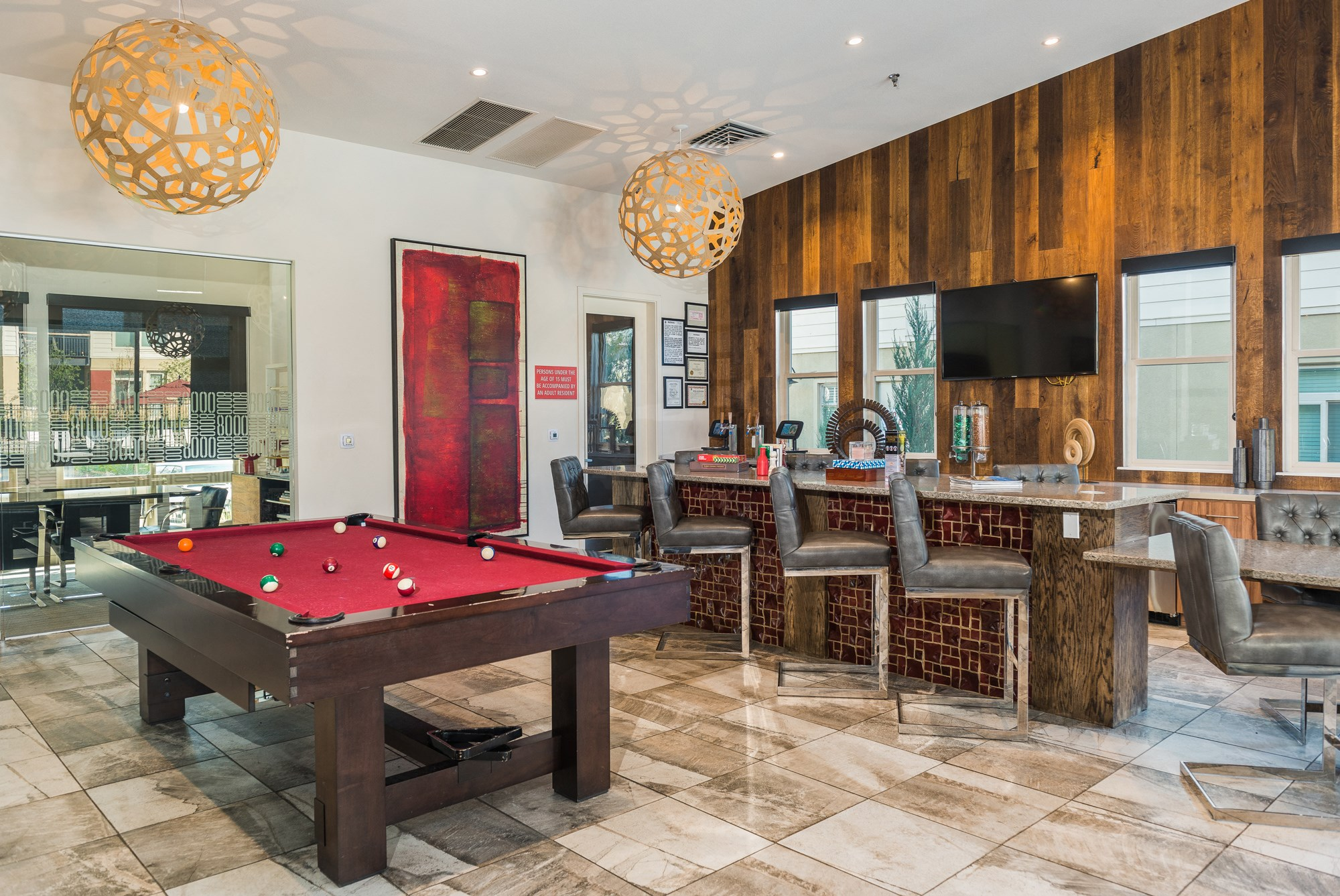 Coffee Bar and Billiards at 8000 Uptown Apartments in Broomfield, CO