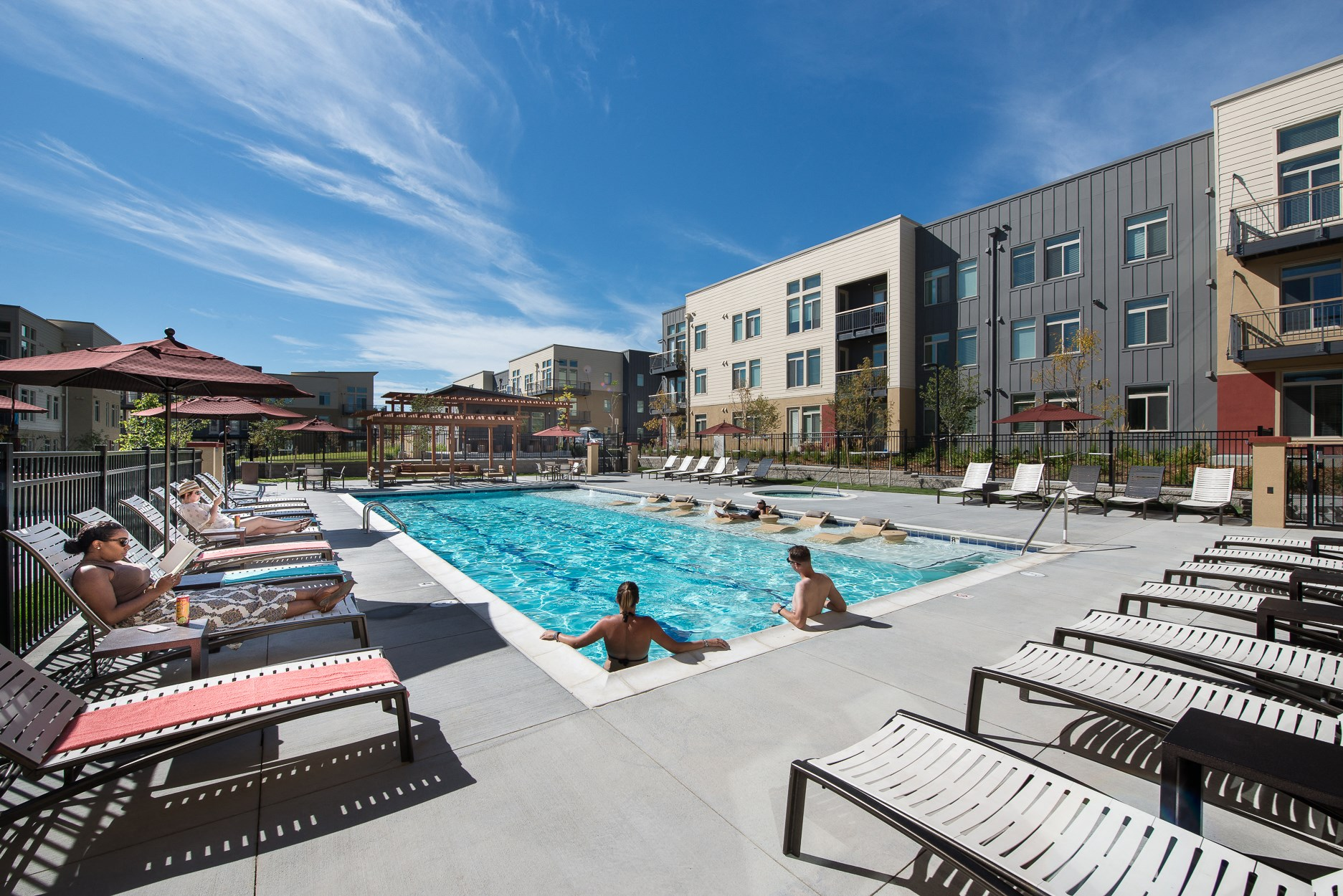 Swimming Pool at 8000 Uptown Apartments in Broomfield, CO