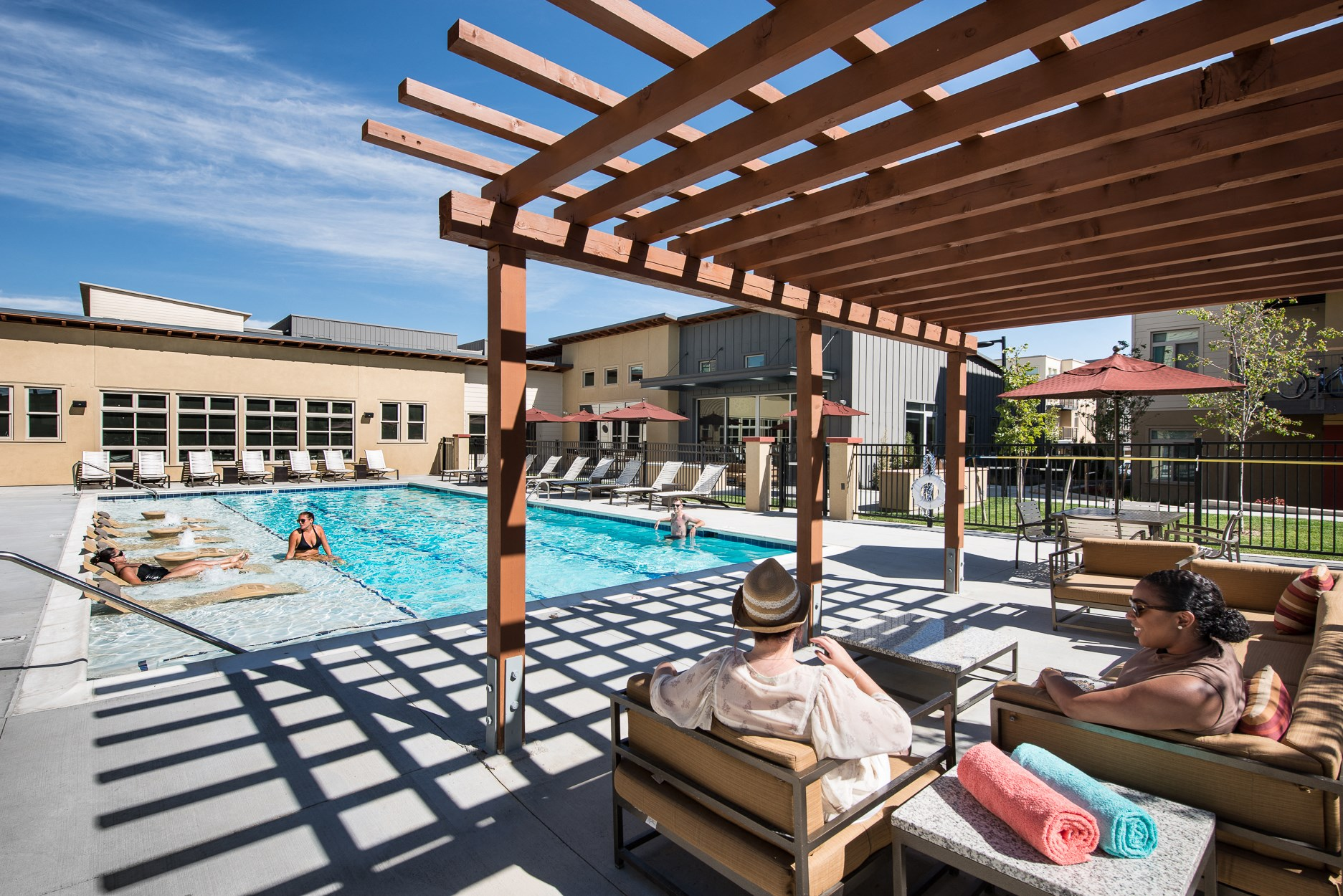 Swimming Pool and Sun Deck at 8000 Uptown Apartments in Broomfield, CO