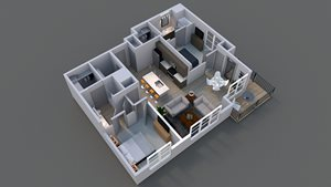 Floor plan of luxury apartment B1 in columbus.