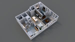 Floor plan of luxury apartment B2 in columbus.