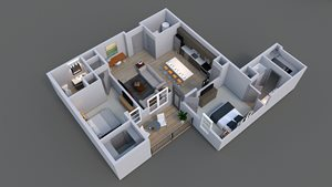 Floor plan of luxury apartment E 3 in columbus.
