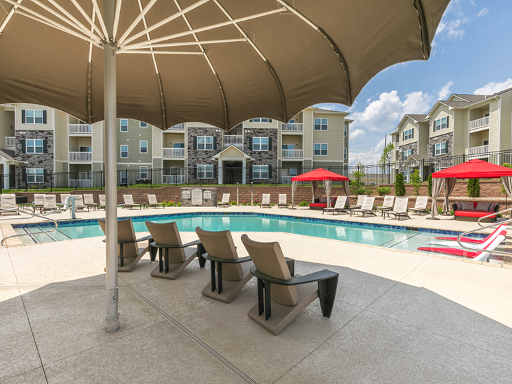 Shaded Lounge Area by Pool at Aventura at Maryland Oaks, St. Louis, 63146