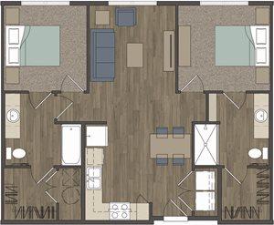 Carter Crossing Apartments | 2 Bedroom Floor Plan