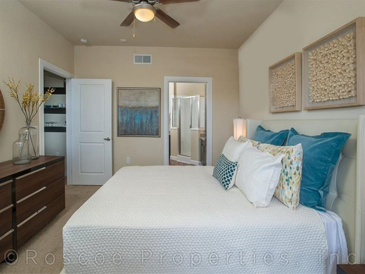Bedroom with attached Closet and Bathroom at Madrone, Texas