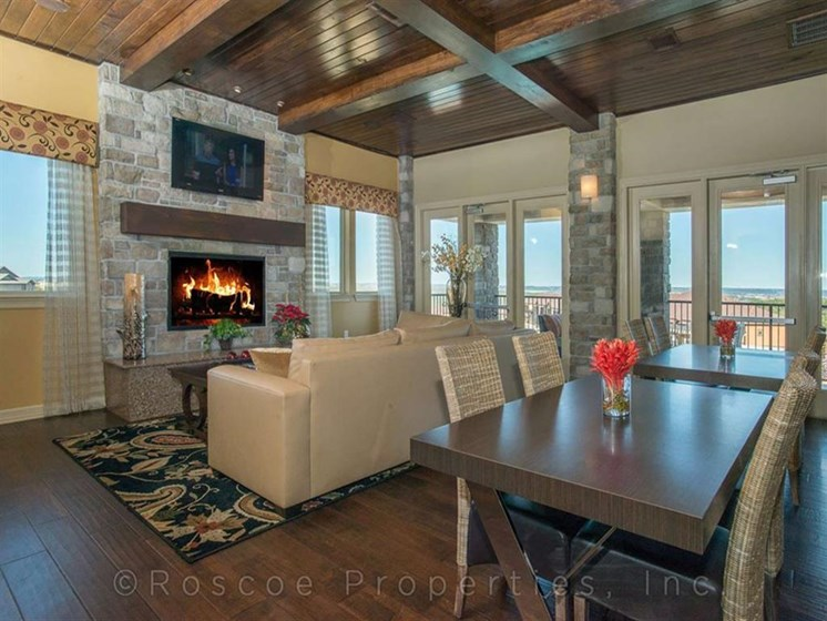 Modern Clubhouse with Fireplace and TV at Madrone, Austin, 78738