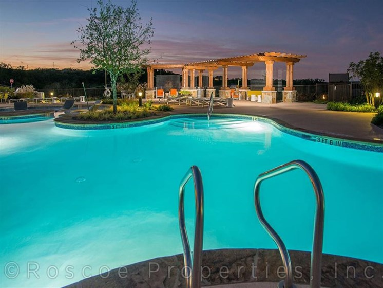 Beautiful Night Life by Pool at Madrone, Austin,Texas