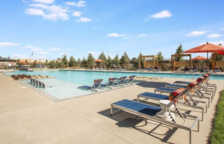 Sparkling Swimming Pool with Lounge Chairs at Parkhouse, Thornton, CO 80023