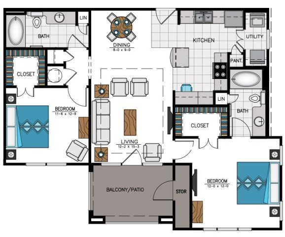 Floor plan at Heights at Sugarloaf, Duluth, 30097