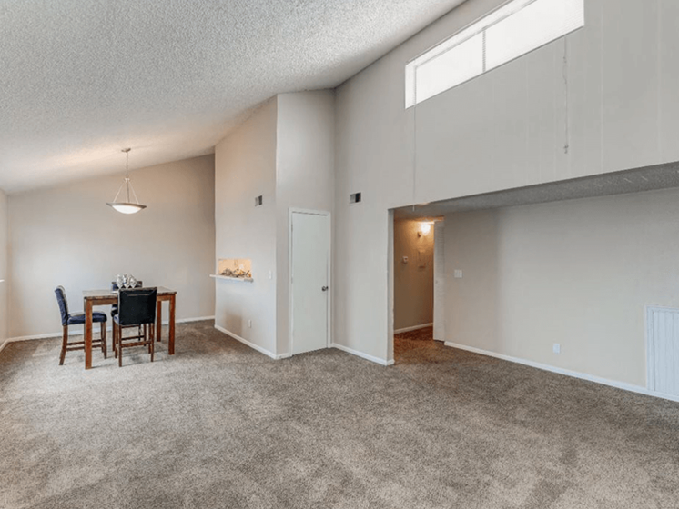 apartment with vaulted ceiling