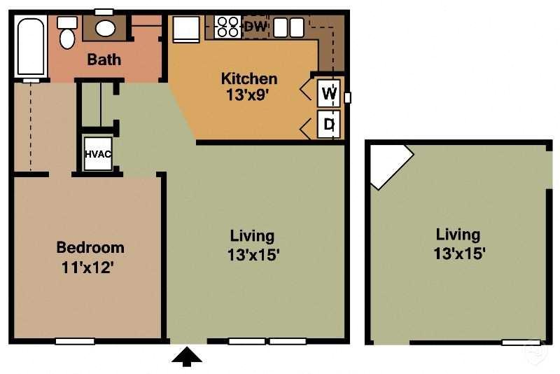 1Bed - 1Bath Floor Plan 2