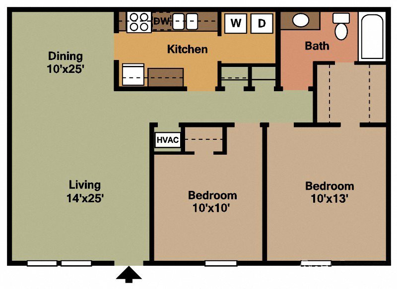 2Bed - 1Bath Floor Plan 3