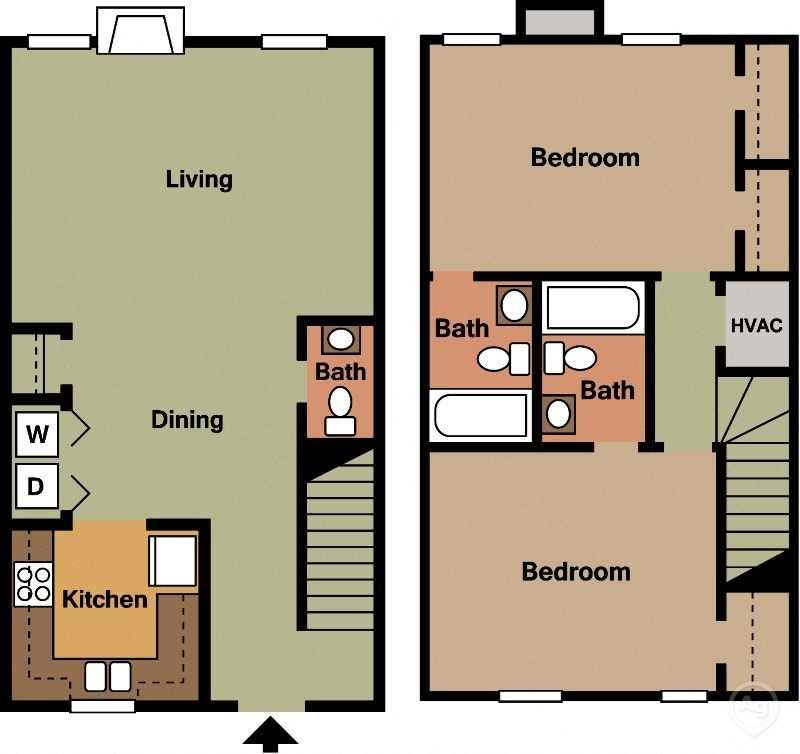 2Bed 2.5Bath Floor Plan 8