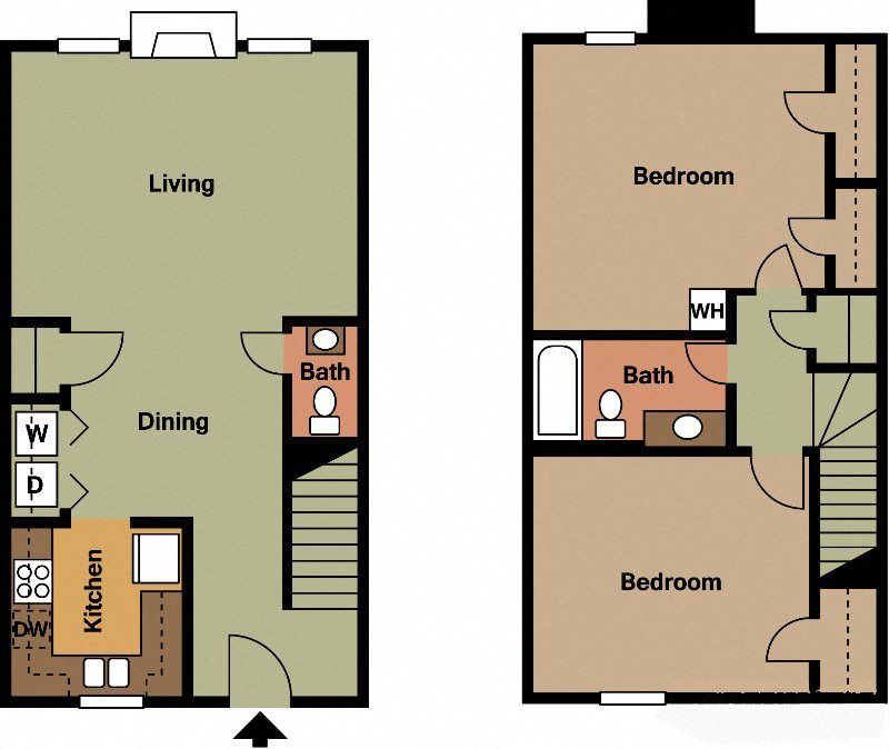 2Bed 1.5Bath Floor Plan 7