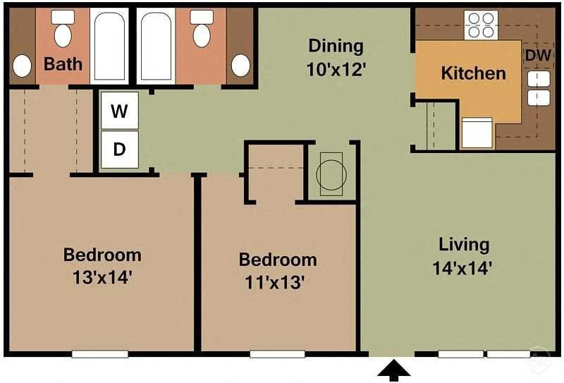 2Bed - 2Bath Floor Plan 4