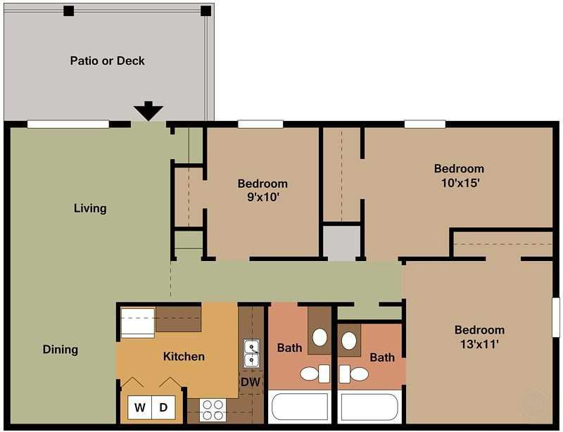 3Bed - 2Bath Floor Plan 6