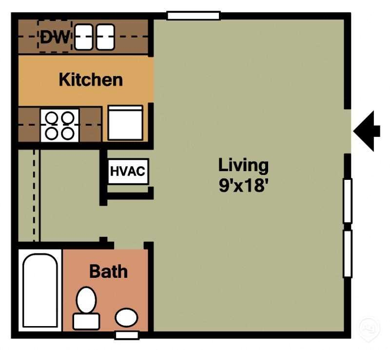 Studio - 1Bath Floor Plan 1