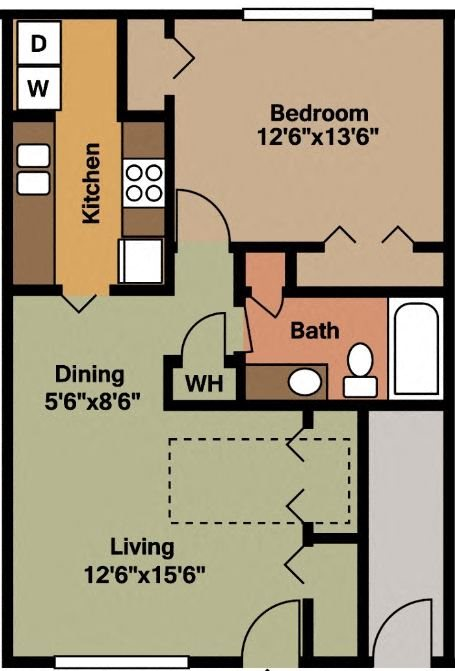 One Bedroom One Bath Floor Plan 2