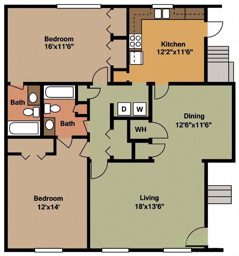 Two Bedroom Two Bath Floor Plan 6