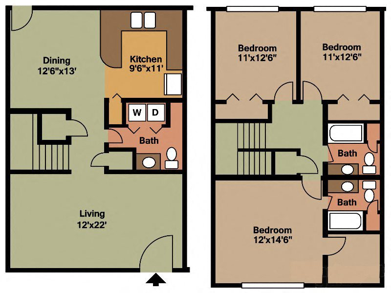 Floor plans of waterford square apartment homes in - 3 bedroom apartments huntsville al ...