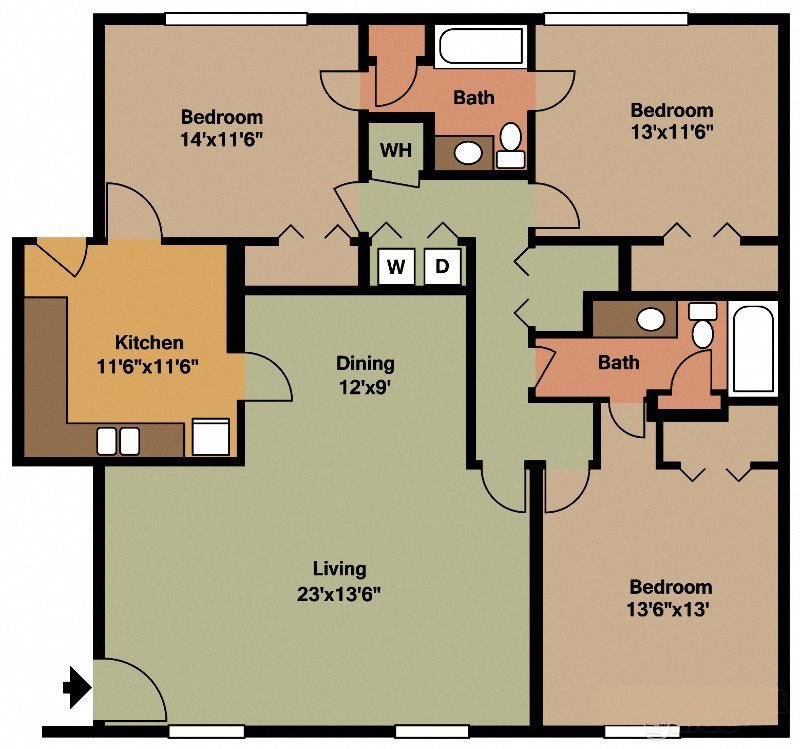 Three Bedroom Two Bath Flat Floor Plan 7