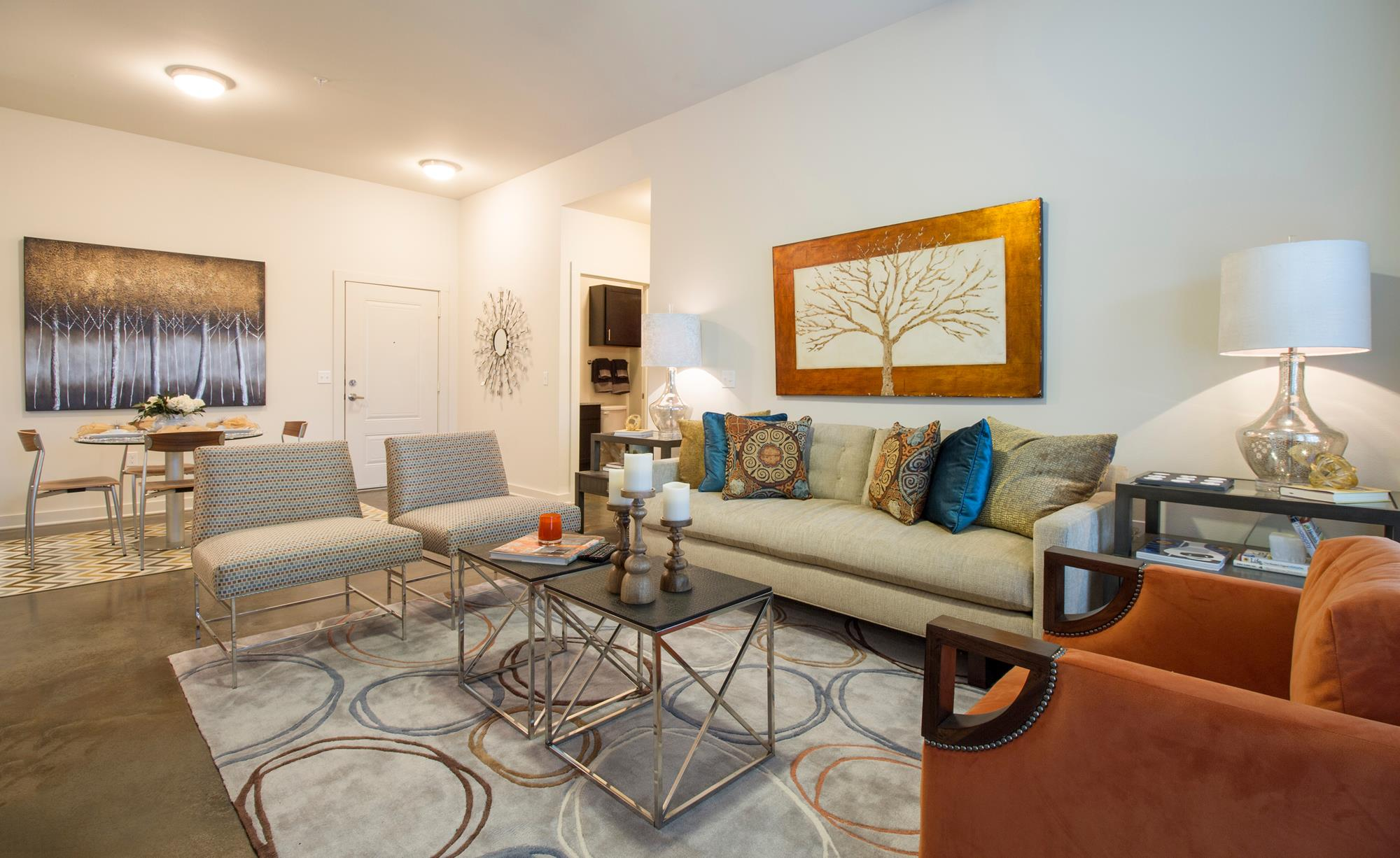Decorated Apartment Living Room at The District, Baton Rouge, LA 70808