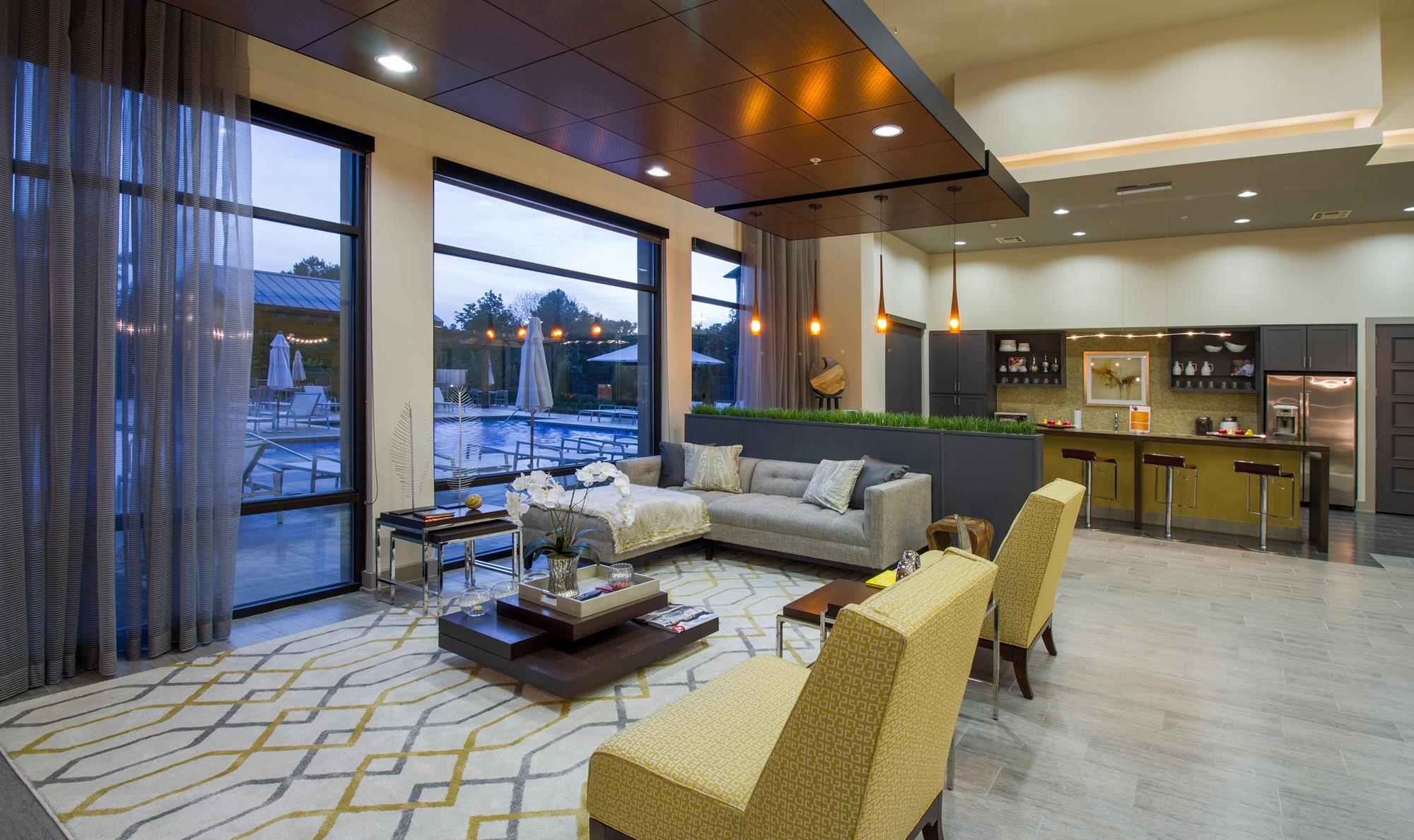 Community Lounge with Stunning Pool Views at The District, Louisiana