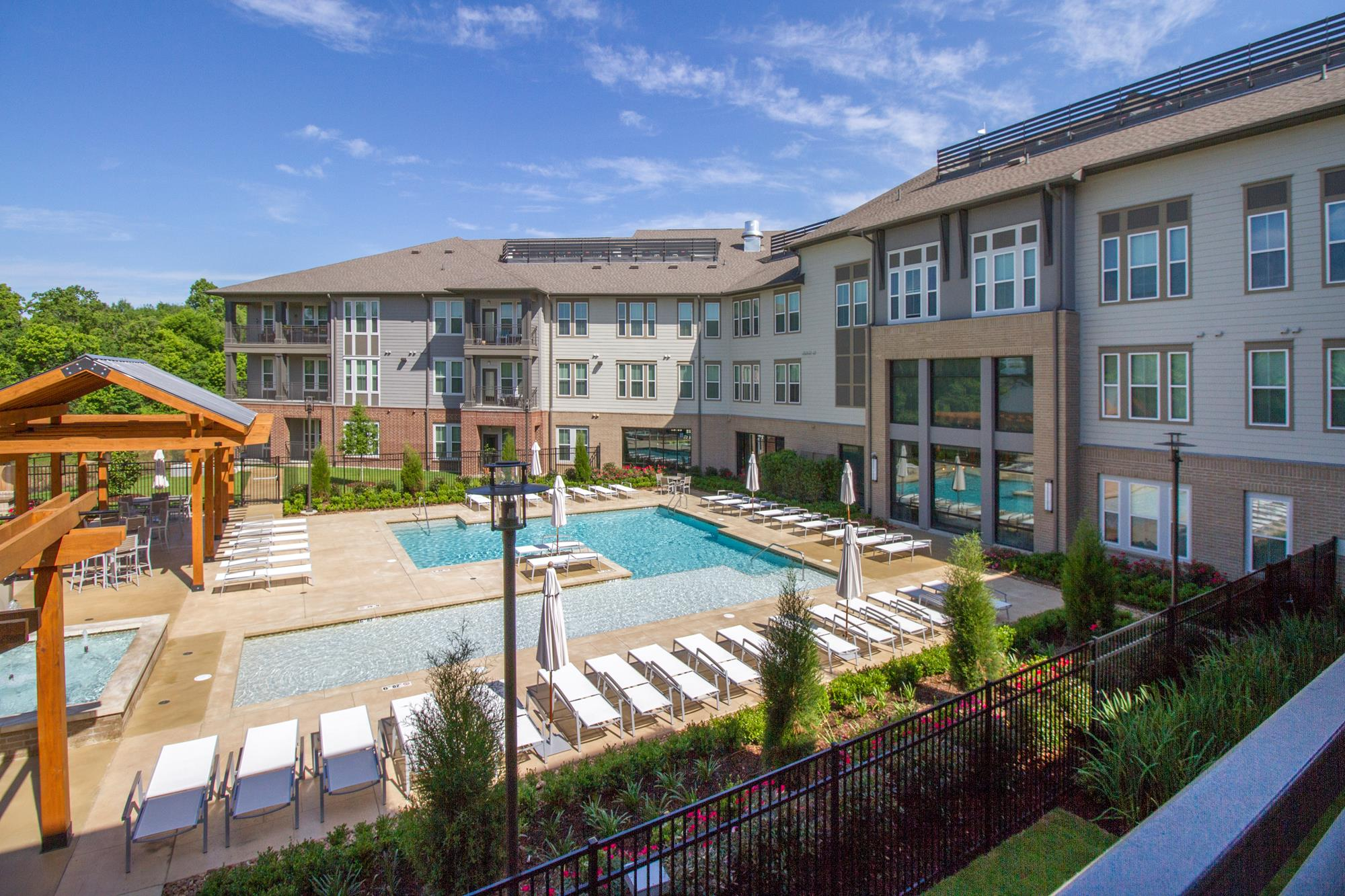 Upscale Lap and Lounge Swimming Pools with Cabana at The District, Baton Rouge