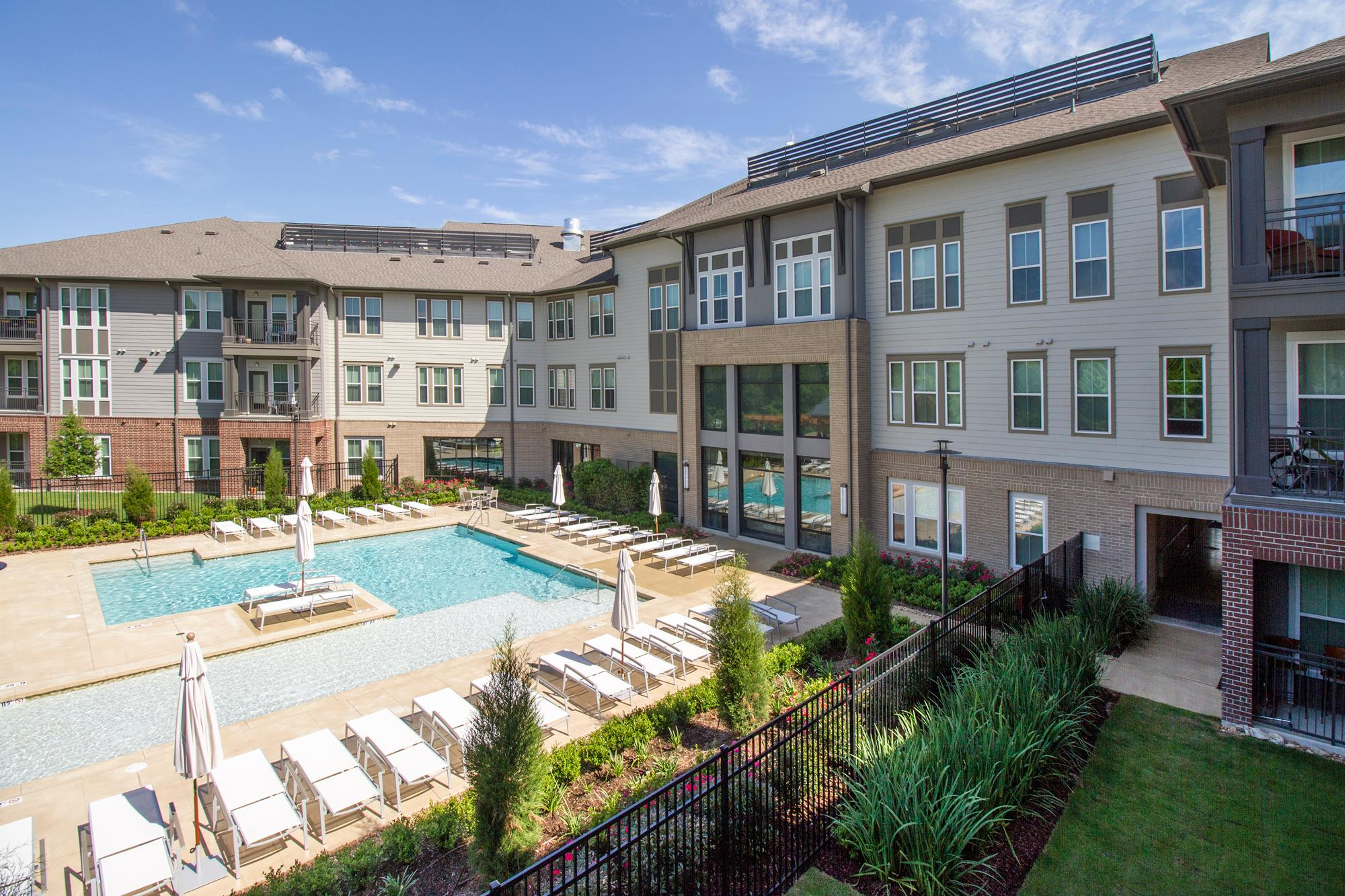Aerial View of Swimming Pool at The District, Baton Rouge, LA 70808