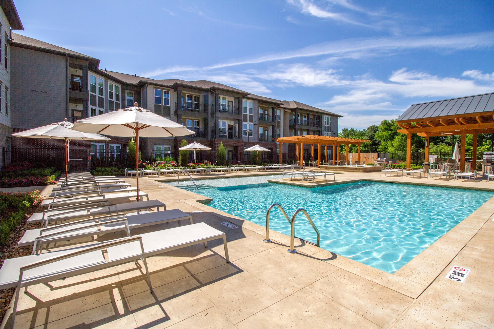 Outdoor Gathering Area by Pool at The District, Baton Rouge,Louisiana