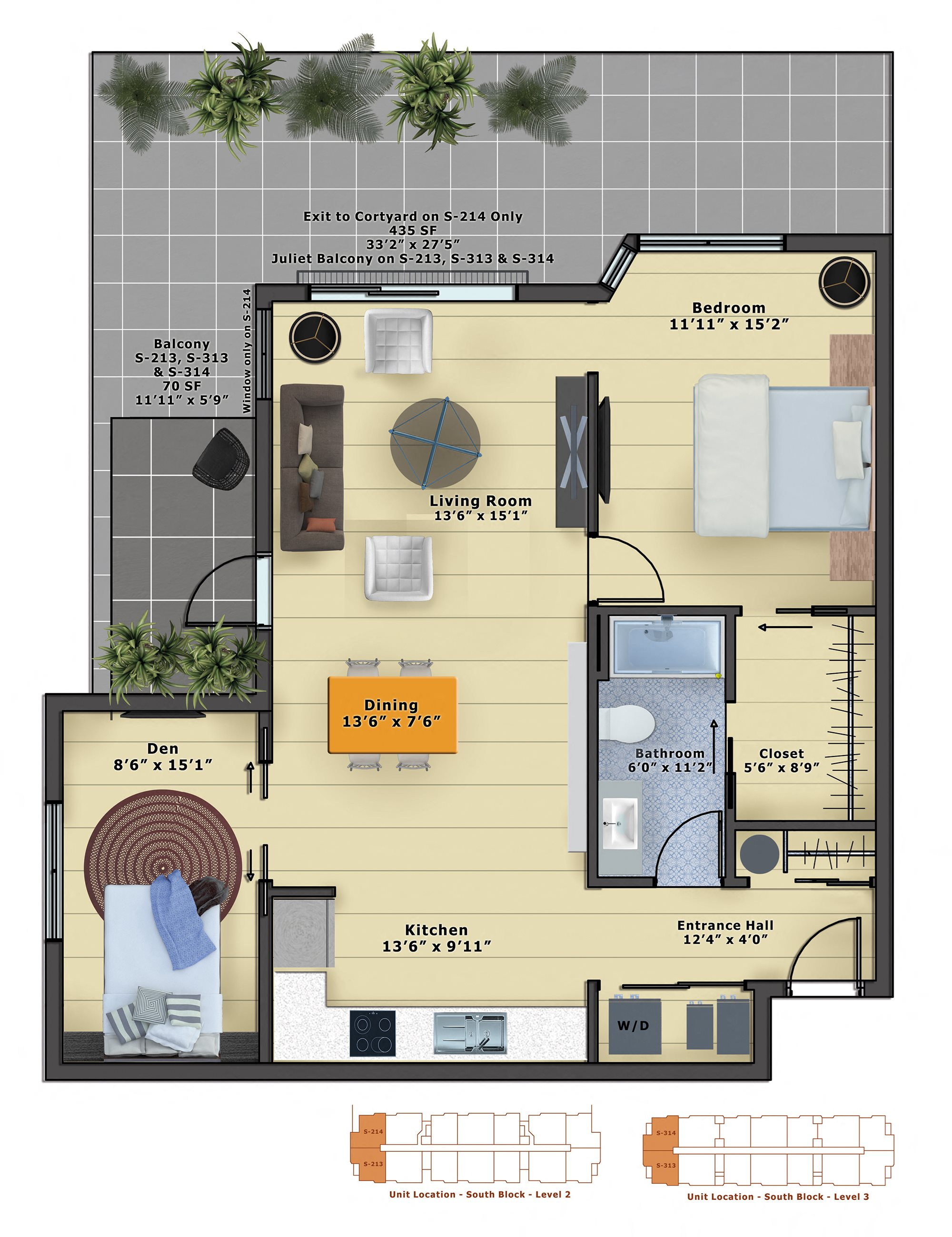 Opal (1b/1b w/Den) Floor Plan 15
