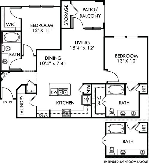 Pecos 2 bedroom apartment. Kitchen with island open to living/dinning rooms. 2 full bathrooms, double vanity in master. Walk-in closets. Patio/balcony. Detached Garage