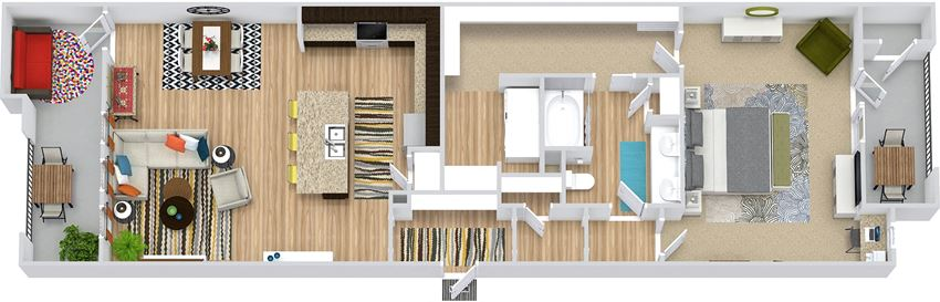 The Trinity. 1 bedroom apartment. Kitchen with island open to living/dinning rooms. 1 full bathroom with double vanity. Walk-in closet. Patio/balcony.