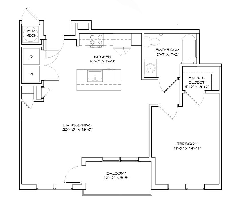 Floorplan of a 1 bedroom, 1 bath apartment, The Courtland