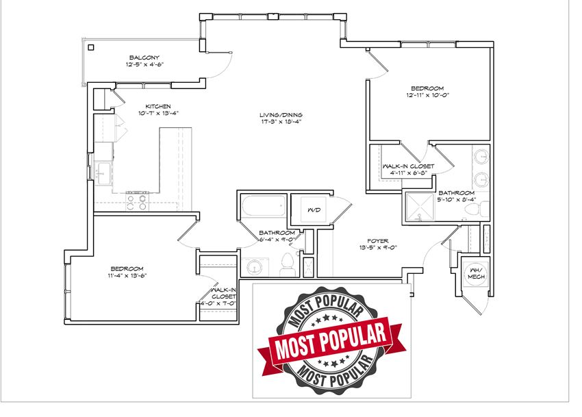 Walnut Floorplan with Most Popular Sign across it