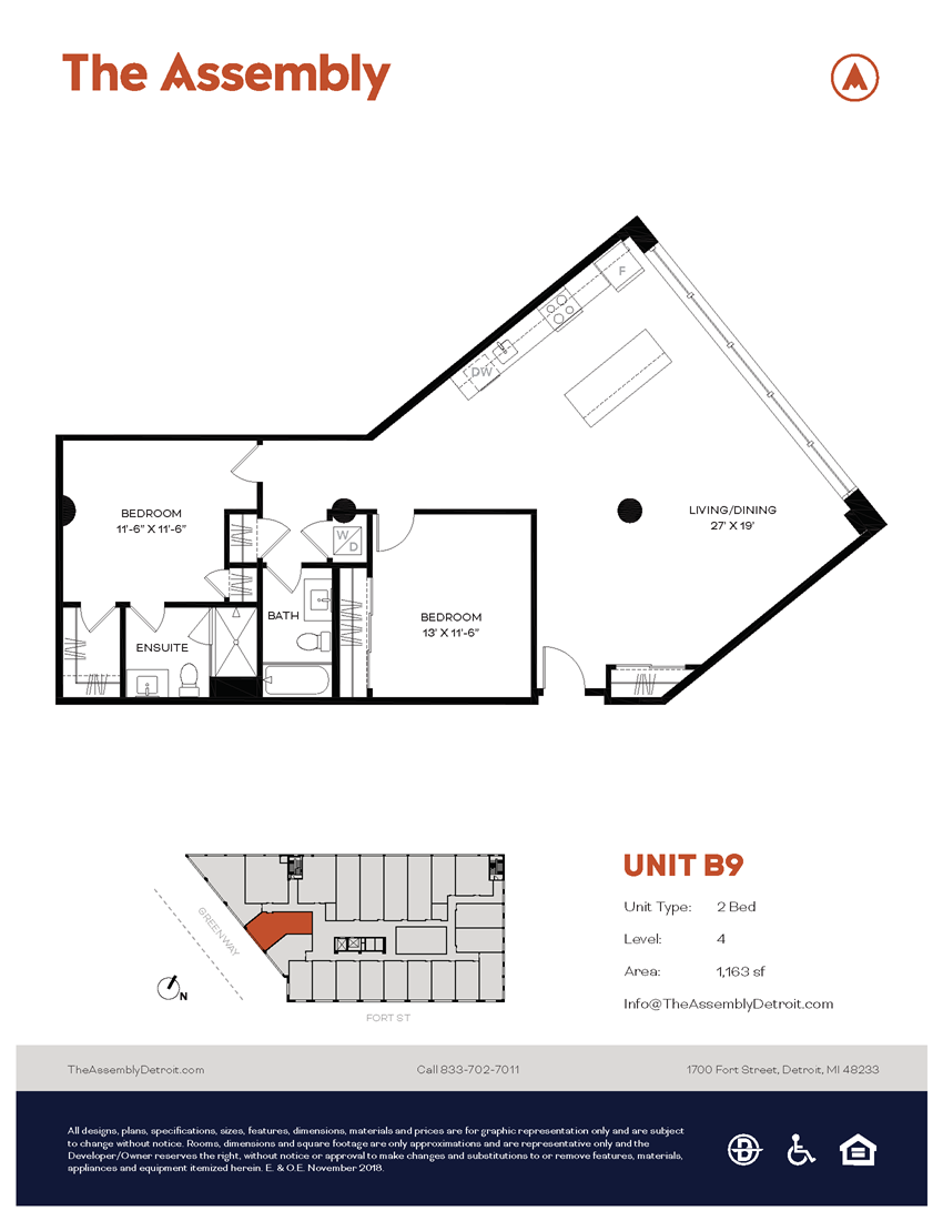 B9 Floor Plan at The Assembly, Detroit, 48216