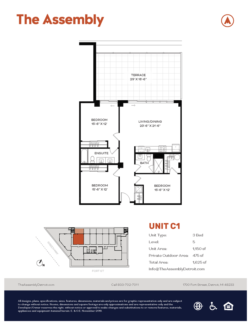 C1 Floor Plan at The Assembly, Michigan