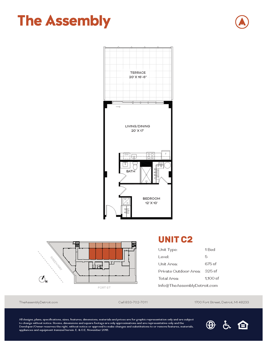 C2 Floor Plan at The Assembly, Michigan, 48216