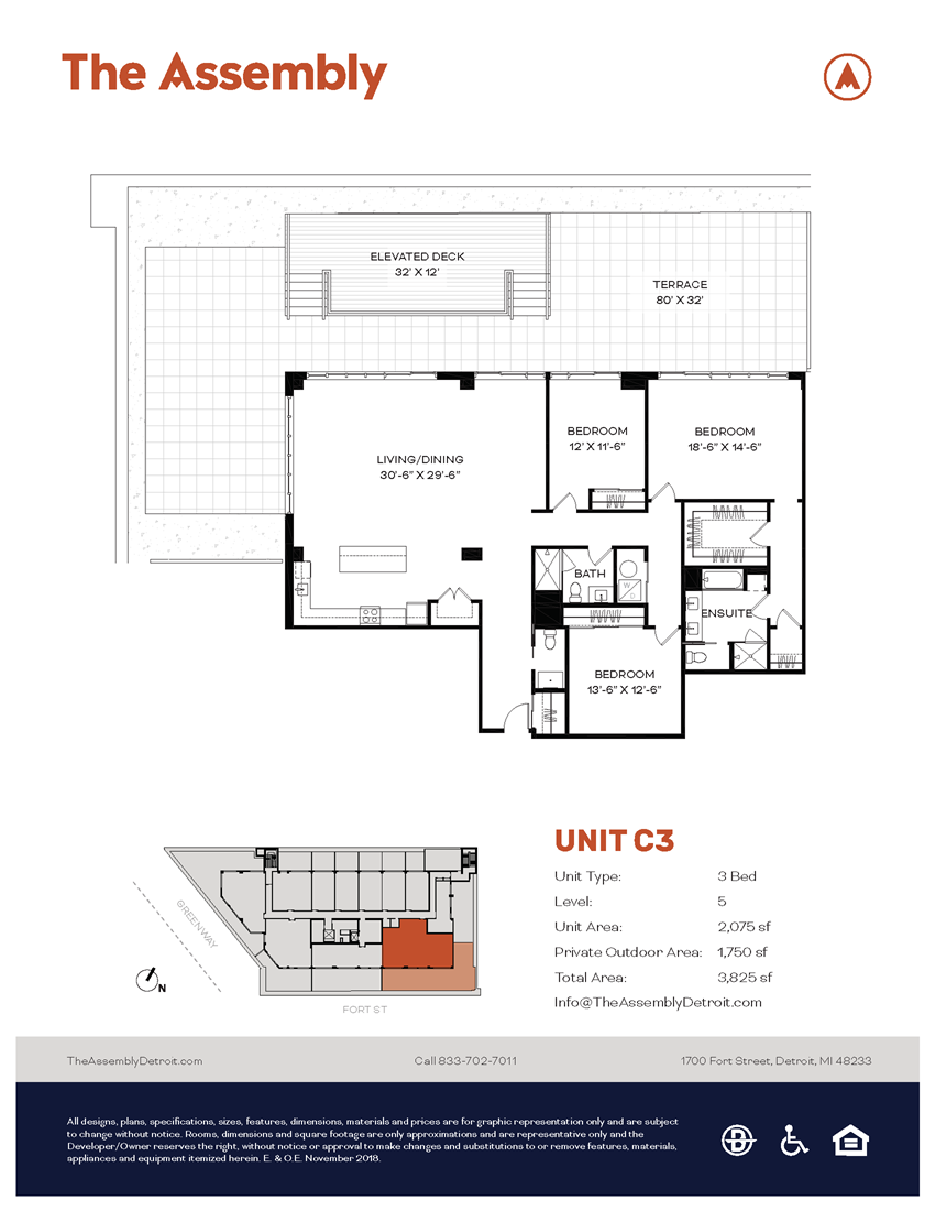 C3 Floor Plan at The Assembly, Detroit, MI, 48216