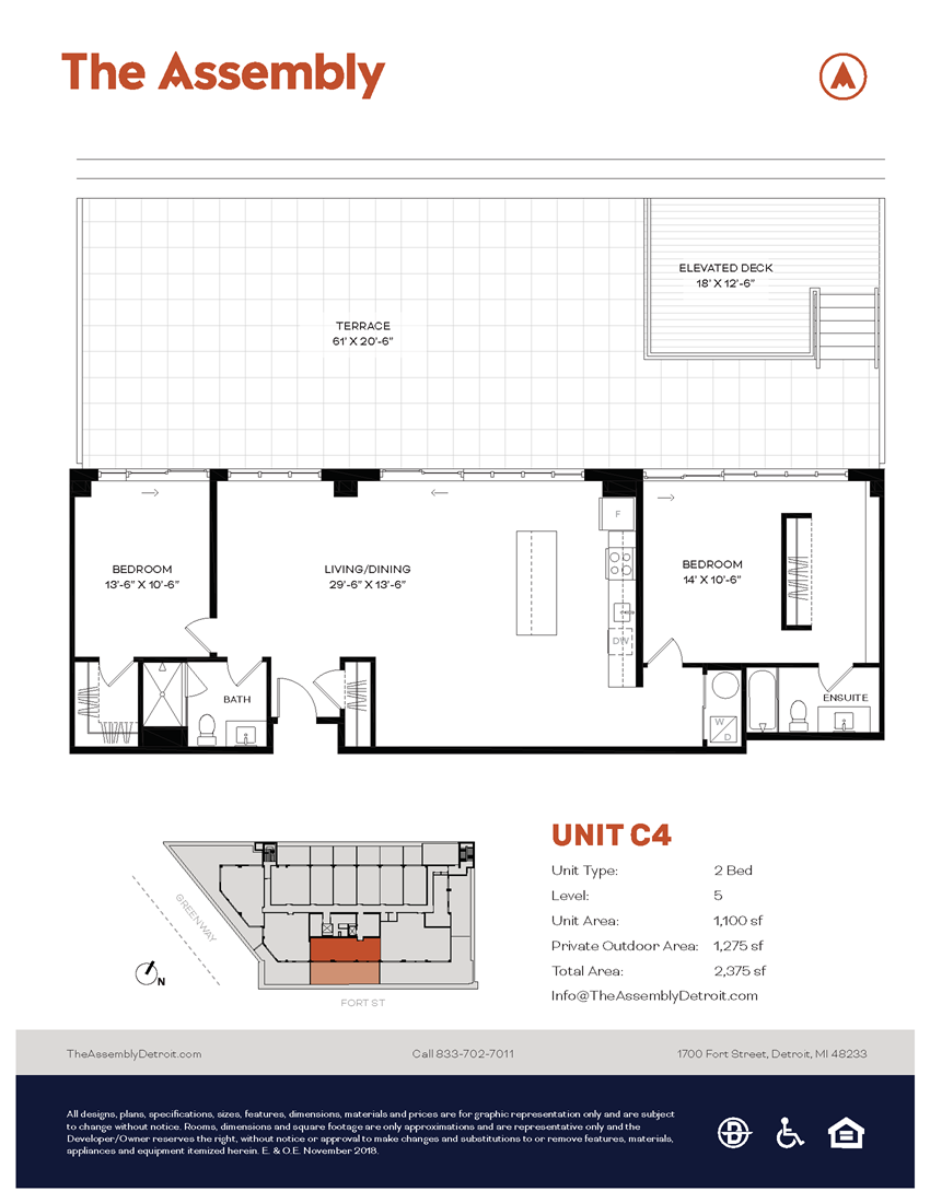 C4 Floor Plan at The Assembly, Detroit, MI
