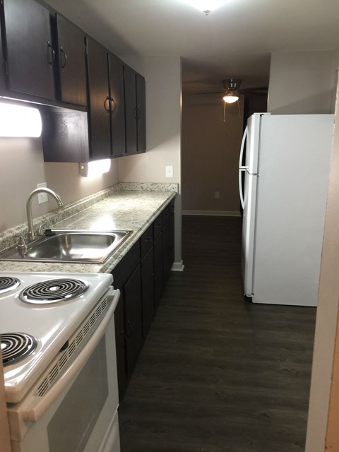 rehabbed apartment kitchen