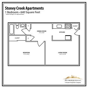 Stoney Creek 1 Bedroom Floor Plan