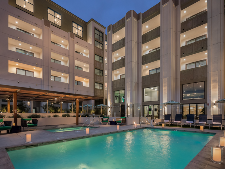 Sparkling Pool with Cabanas at The Mansfield at Miracle Mile, Los Angeles, California