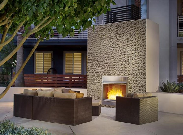 Fireplace at Carabella at Warner Center Apartments in Woodland Hills CA