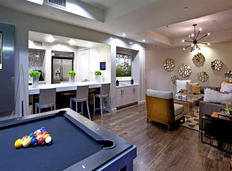 Social lounge at Carabella at Warner Center Apartments in Woodland Hills CA